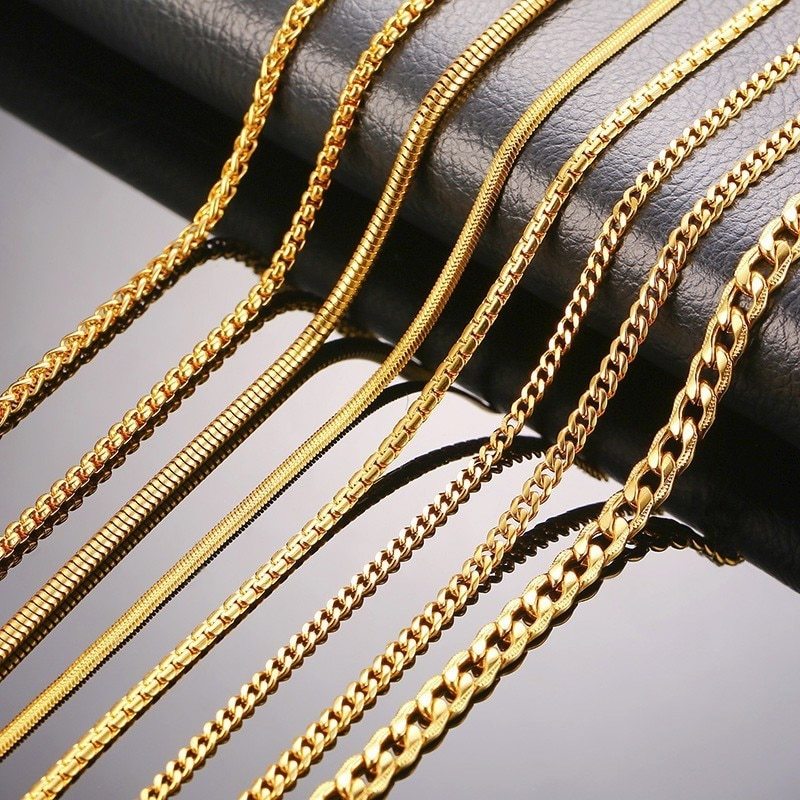 Collar ZORCVENS para hombres y mujeres, serpiente dorada, Miami Cuba, espiga Paima de trigo, eslabón, caja redonda, cadena, collar de acero inoxidable
