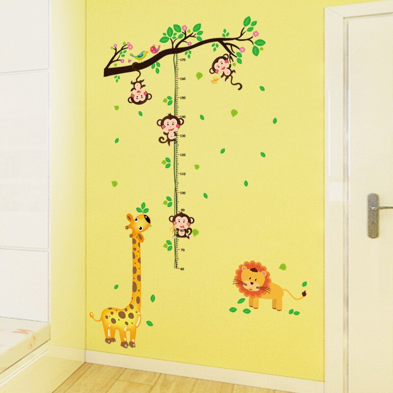 Купить с кэшбэком Cartoon Giraffe Monkey Height Measure Wall Stickers Home Decor Tree rattan Chart Ruler Decoration For Kids Rooms Decals Wall Art