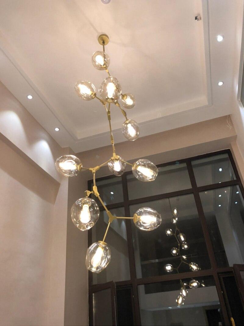 Lámpara de araña de cristal con forma de lámpara moderna nórdica, lámpara de araña Vertical de Cuerpo Dorado y negro, múltiples cabezas para elegir