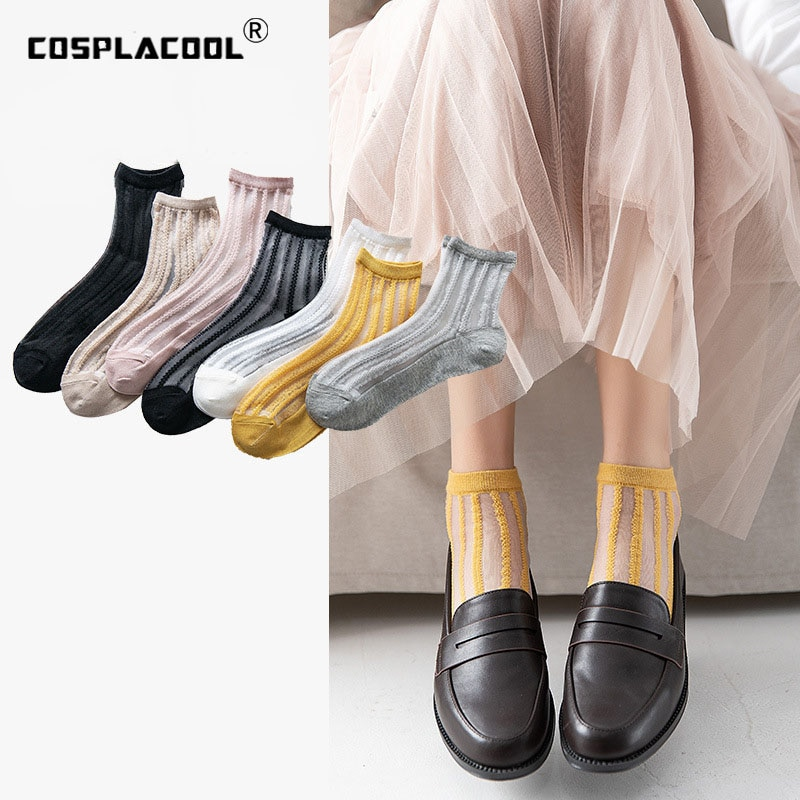 [COSPLACOOL]Women Socks Sexy Hosiery Spring Summer Thin Style Korean Cute socks Fashion Transparent comfortable socks harajuku