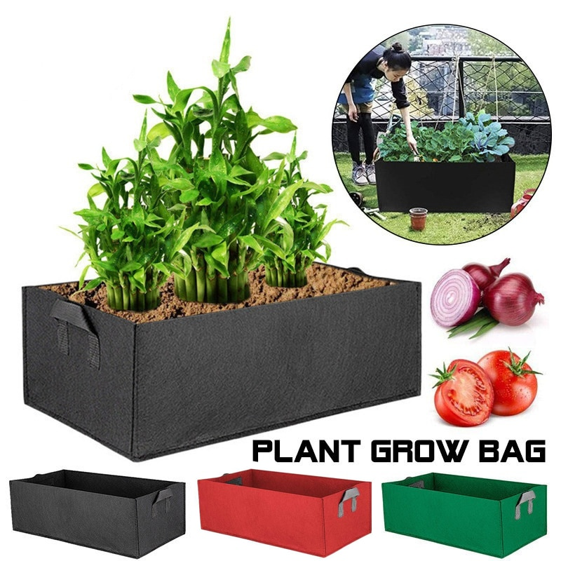 Bolsas grandes rectangulares para cultivo de verduras, maceta para jardín, vivero, maceta para plantar, bolsa no tejida de fieltro anticorrosión