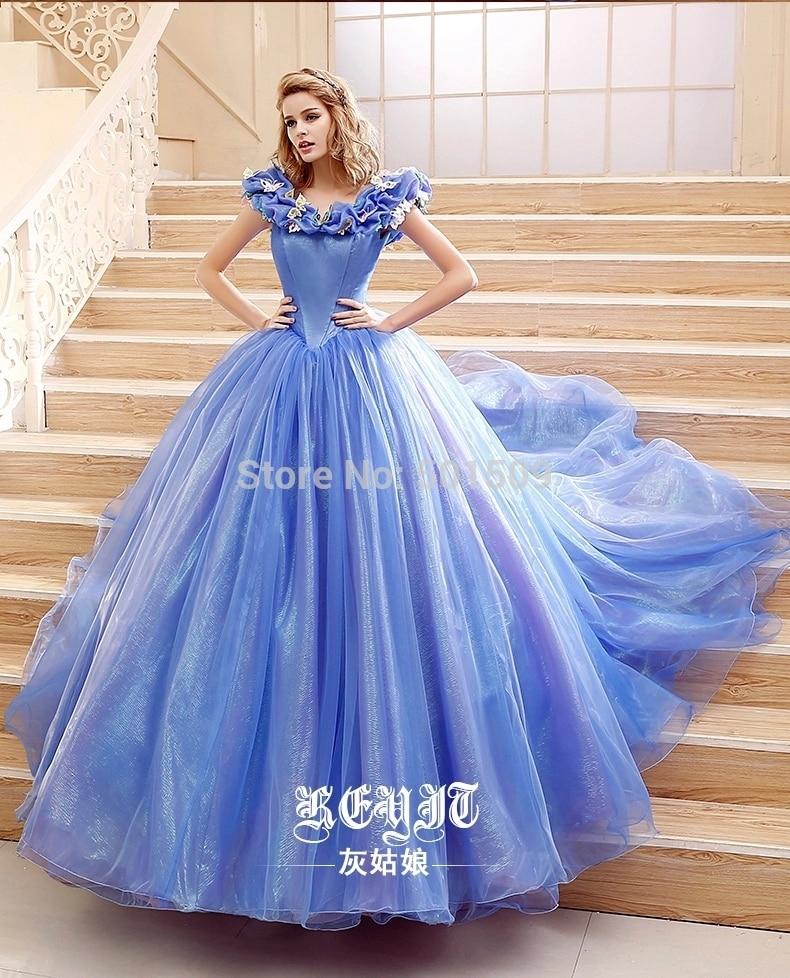 100% real ladies novo estilo luz azul/branco borboleta medieval vestido tribunal vestido de bola princesa vestido de fadas/vestido vitoriano