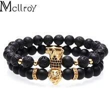 Mcllroy bracelet hommes/femmes/pierre naturelle/perles/acier inoxydable lion bracelets ensemble cuivre cz zircon couronne bracelets bijoux homme