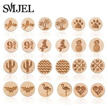 SMJEL Simple Round Wood Stud Earrings For Women Wooden Unisex Jewellery Men earrings Animal Cactus B