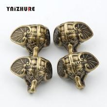 8PCS 28*23mm Antike Elefanten Vintage Bronze Schmuck Brust Box Holz Fall Dekorative Schutz Füße Bein Kunststoff material