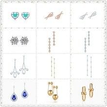 SHINETUNG 1:1 S925 Genuine Green Heart-Shaped Bowknot Snowflake Trendy Earrings Women Logo Fine High-End Jewelry