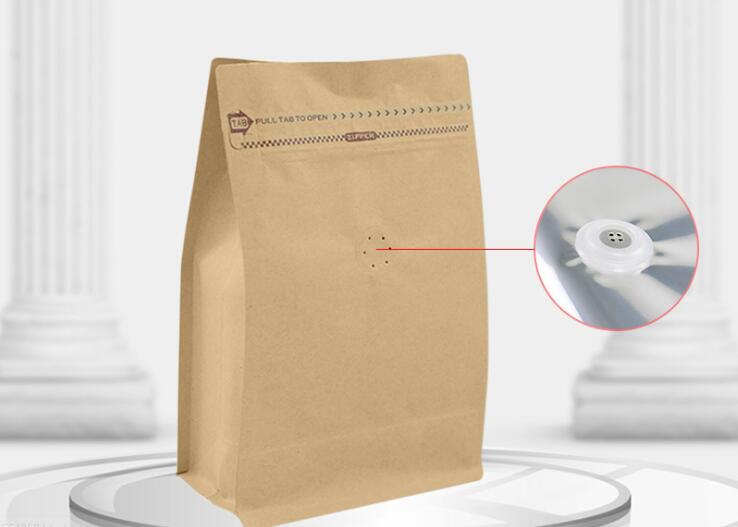 500 unids/lote 1/2 libras de café bolsa para frijoles con una válvula de papel de aluminio con cierre de cremallera de embalaje de café, bolsa de almacenamiento de alimentos bolsas de almacenamiento