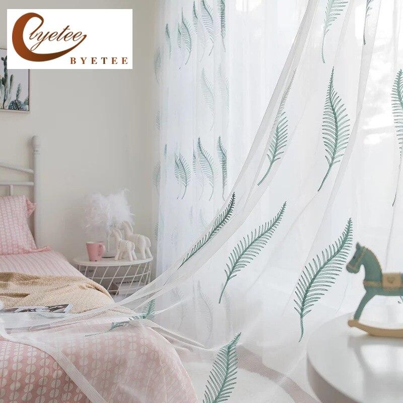 Cortina bordada para ventana de plumas, cortinas blancas de tul para sala de estar o dormitorio, cortina transparente bordada