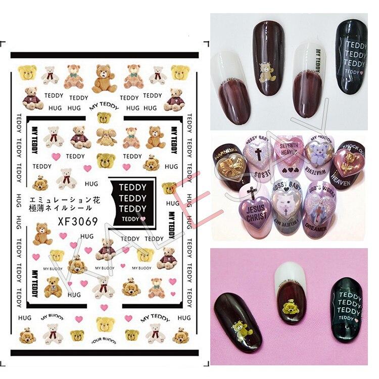 Pegatinas de uñas de oso para decoración de uñas decoración de manicura 3D pegatinas de pegamento de uñas envolturas pegatinas de papel de transferencia no calcomanías de agua