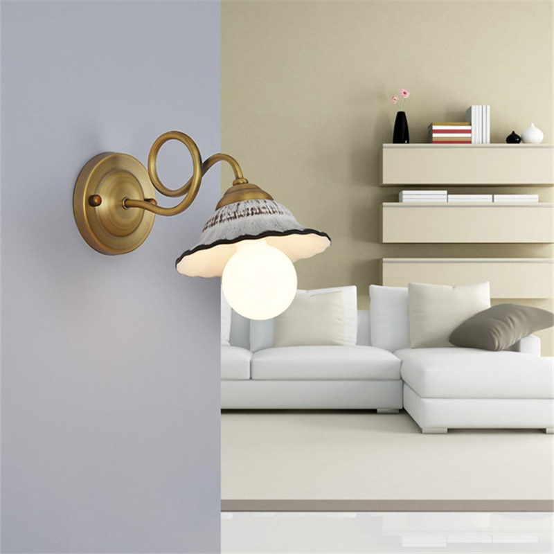 Retro Personalized E27 Ceramic Wall Light Creative Iron Electroplating Industrial Wind Wall Lamp For Restaurant Bar Hotel Cafe  - buy with discount