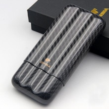 Fibra de carbono negra COHIBA de alta calidad para viaje, tres tubos para puros con caja de regalo