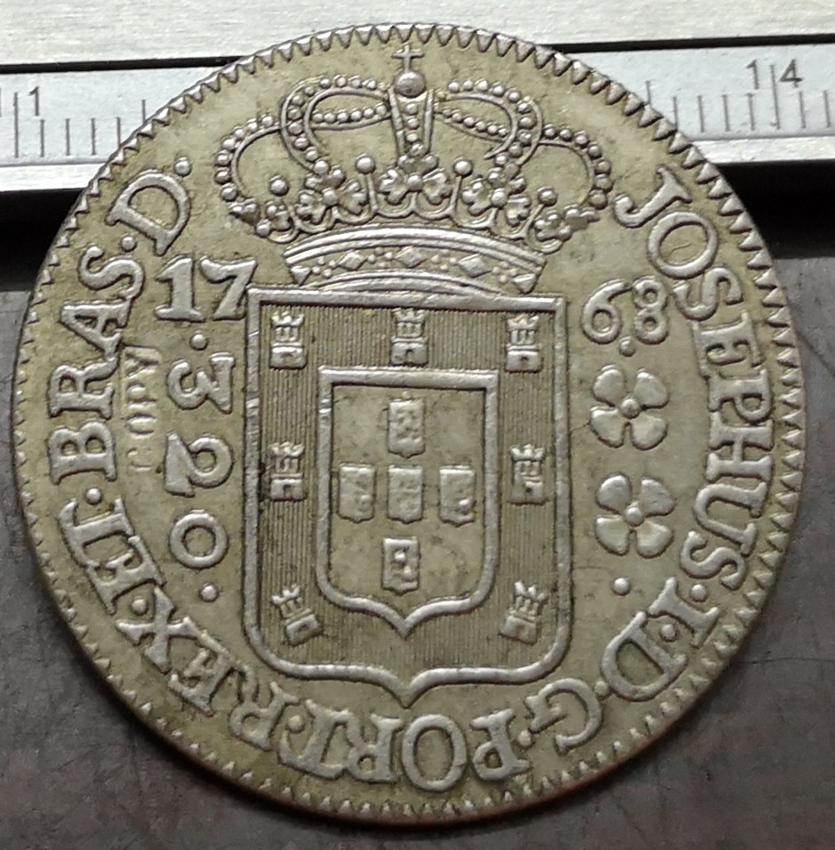 1768 Brasil 320 Reis-José I Moneda de copia chapada en plata