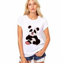 Camiseta para mujer, verano 2018, a la moda, estampado de poliéster y Panda, camiseta de manga corta con cuello redondo, Tops blancos, camisa informal de punto de cartón