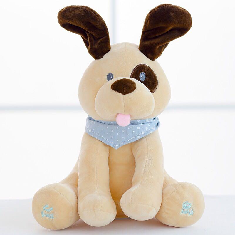 Juguete de peluche de perro electrónico Peek a Boo de 30 cm, juguetes para perros con orejas, muñeco eléctrico suave para niños, regalo de cumpleaños para niños y niñas