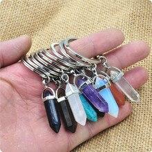 1 PC mode pierre naturelle pendentif porte-clés naturel Quartz pierre porte-clés rose cristal porte-clés accessoires bijoux cadeau