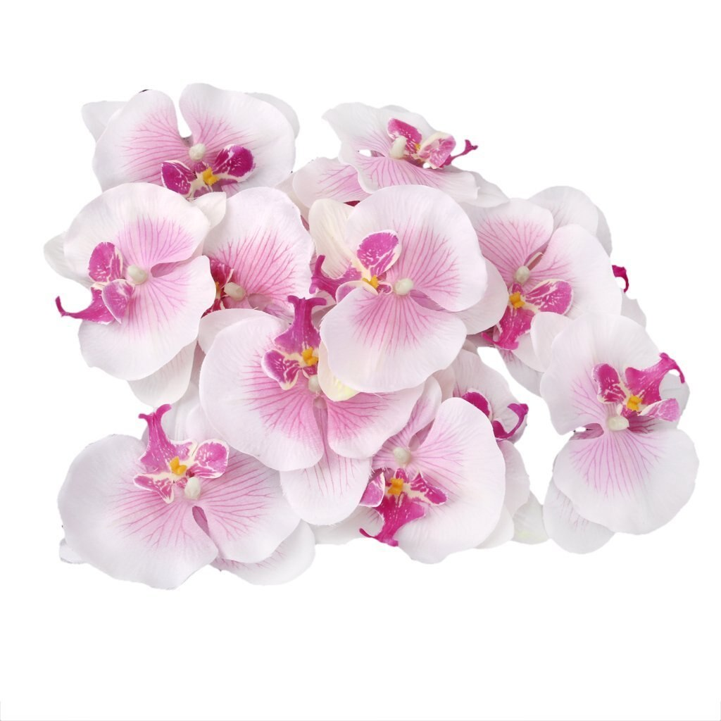 Best Lot of 20pcs 9cm Butterfly Orchid Flower Artificial Flower Head Decor for Wedding Barrette Accessory
