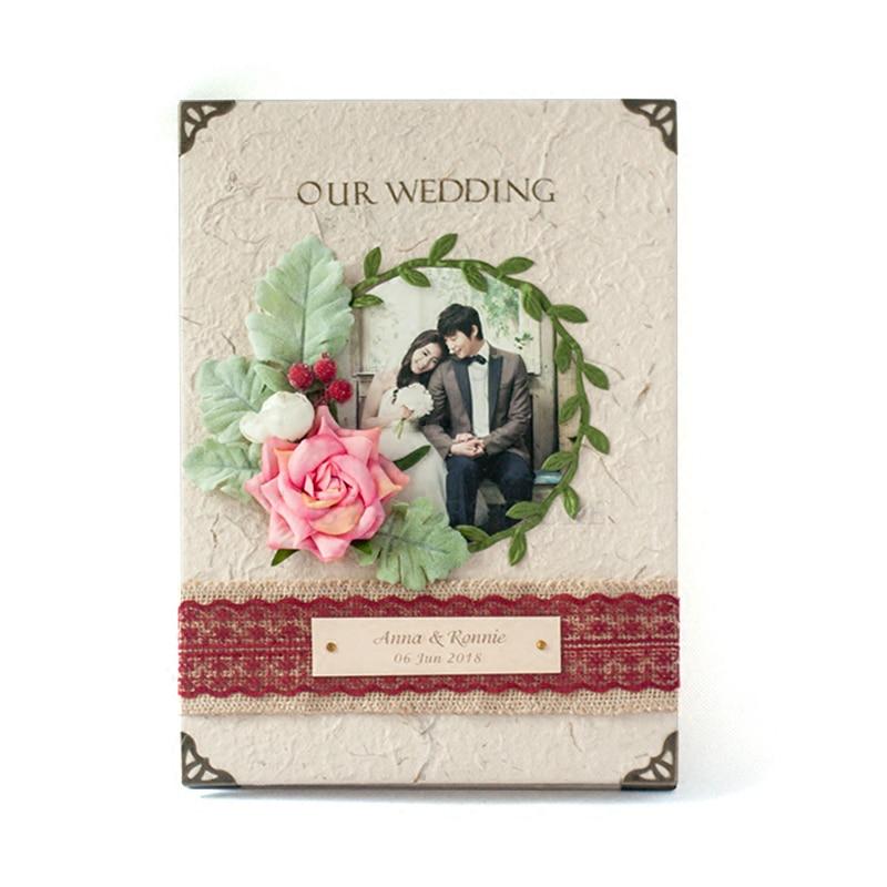 Envío Gratis, 1 Uds., nombre de foto personalizado, álbum de recuerdos de flores del bosque de tres dimensiones, libro de firmas de invitados para fiesta de cumpleaños