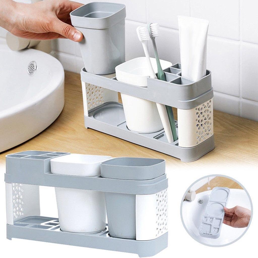Rack de escova de dentes do banheiro plástico conjunto copo escovação simples banheiro rack armazenamento escova de dentes titular k1