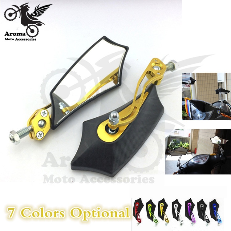 1 pair gold motorcycle rearview mirror unviersal Motorcycle Accessories for kawasaki Moto Rearview Rear View Side Mirror CNC hot