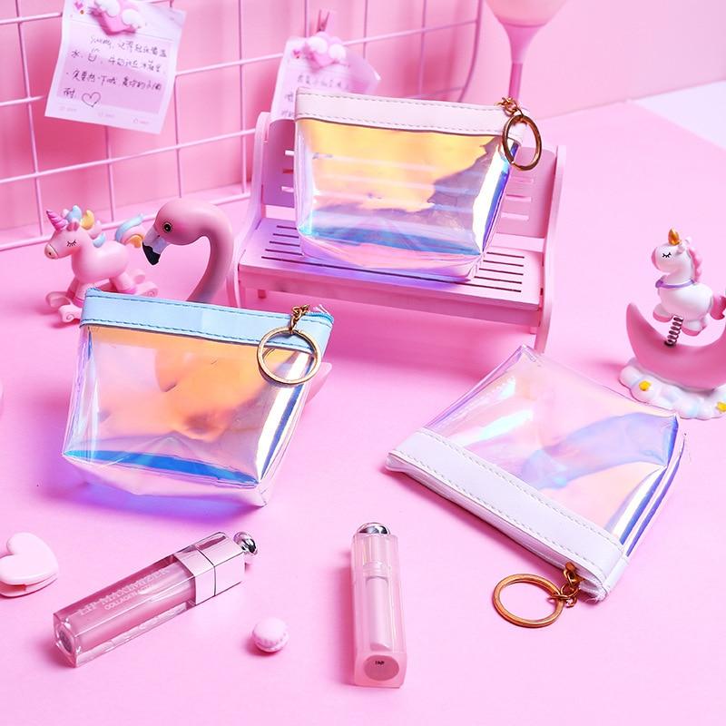 Moda Jelly transparente monedero mujeres láser Mini monederos funda, soporte suave nuevo chicas lindo pequeño dinero bolsa señoras cambiar bolsa