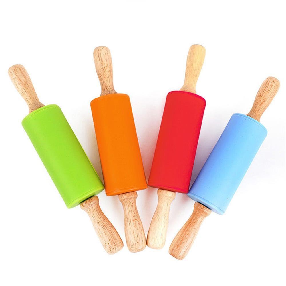Manija de madera silicona rodillos Rolling Pin chico de cocina para hornear herramienta de Pasta masa de galleta pastelería, panadería de cocina