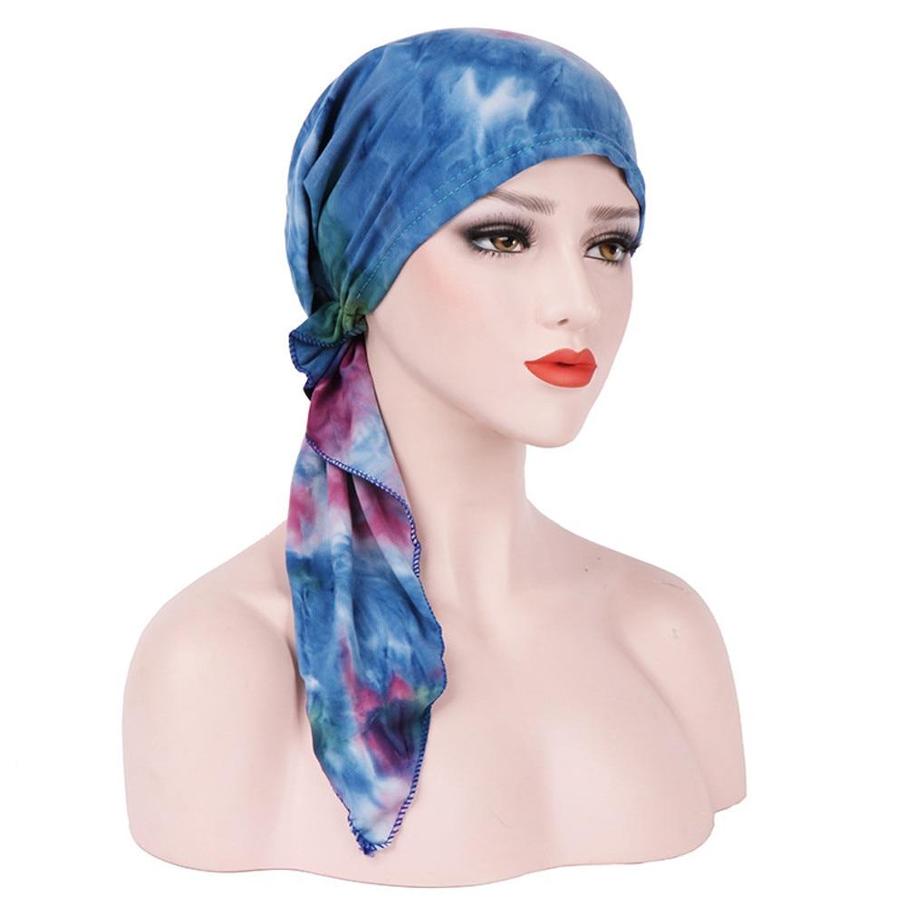 Women Chemo Hat Silk Print Hat Muslim baotou cap pullover cap Stretch Turban Hat Tie-dye Cotton Hair Loss Head Scarf Wrap 4.11