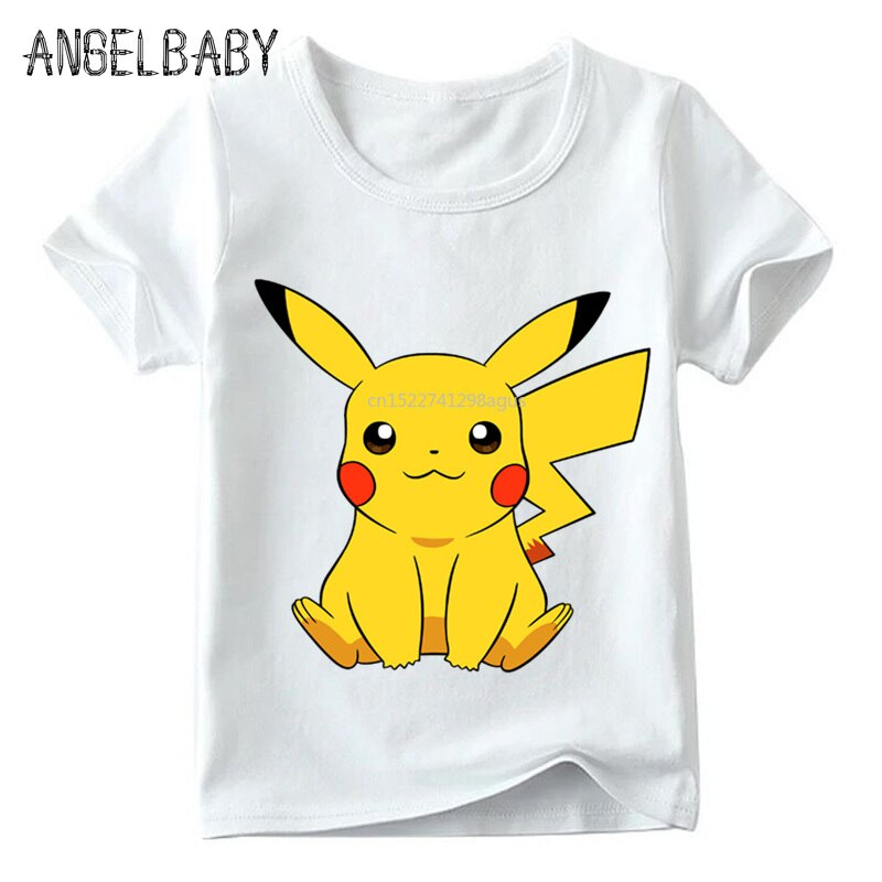 Niños POKEMON GO Cute Pikachu divertida camiseta bebés/niñas dibujos animados verano Tops niños Casual Camiseta cómoda, ooo2080