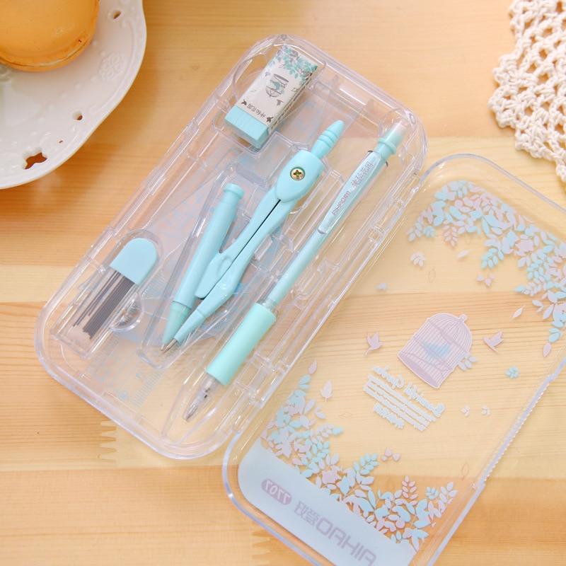Ensemble de compas Kawai mignon avec règle gomme crayon mécanique et recharge pour dessin papeterie coréenne fournitures scolaires de bureau