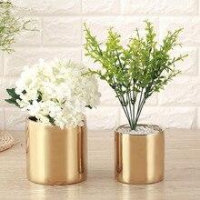 Vase à fleurs en céramique plaqué or argent   En céramique moderne, Pot de fleurs de plantation, décor de salle aristocratique, accessoires de Table, cadeau