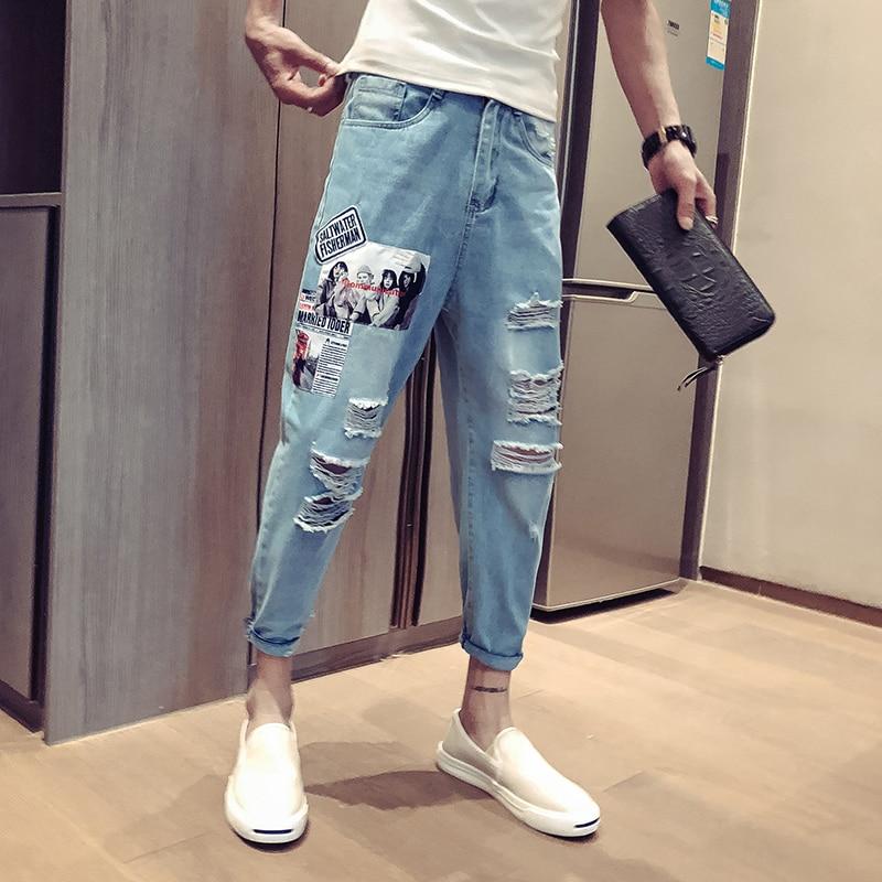 2019 été section mince trou neuf points jeans mâle lâche hip hop impression marée marque streetwear pantalon japon Style bleu