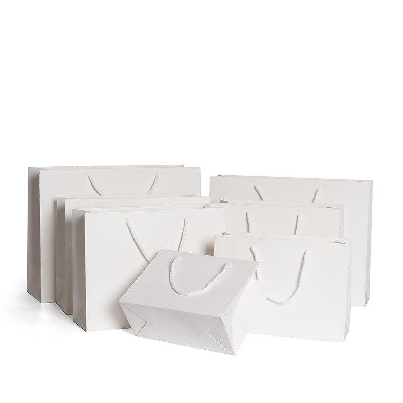 Bolsa de papel blanca de 10 Uds., bolsa de regalo pequeña, bolsas de compras con asa de cuerda gruesa, bolsa de embalaje para ropa