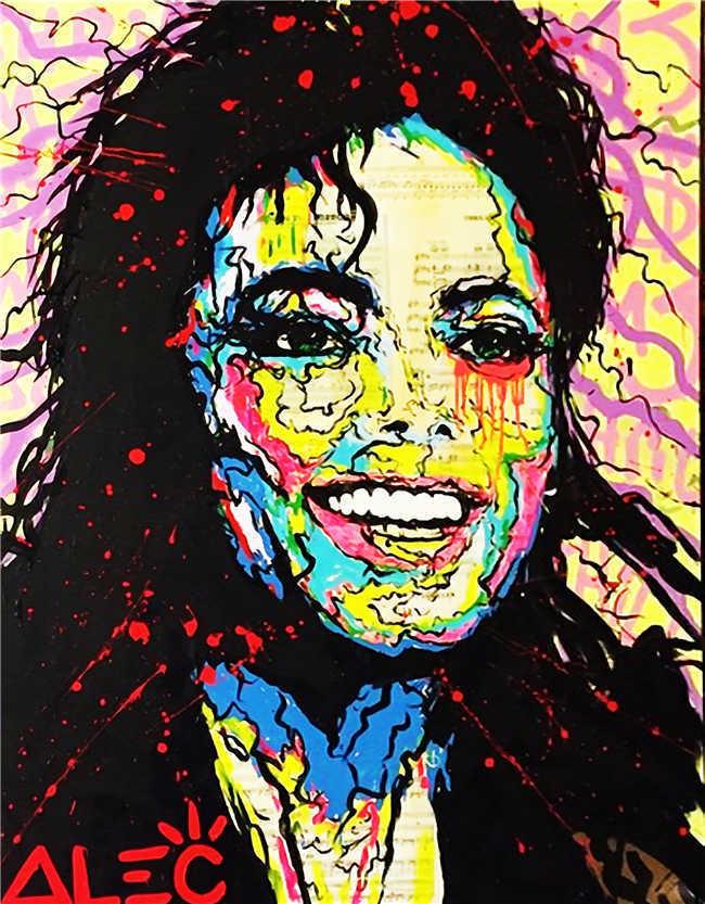 Pintura al óleo sobre grafiti de lona hecha a mano de 100%, el Monopoly Banksy, Michael Jackson, 24x36 pulgadas