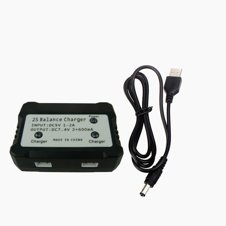 1 a 2 baterías de litio 7,4 V 2S cargador de equilibrio 3 pines Puerto cargadores de batería Lipo para helicóptero SYMA X8C/X8HW/X600/X101/X6 RC