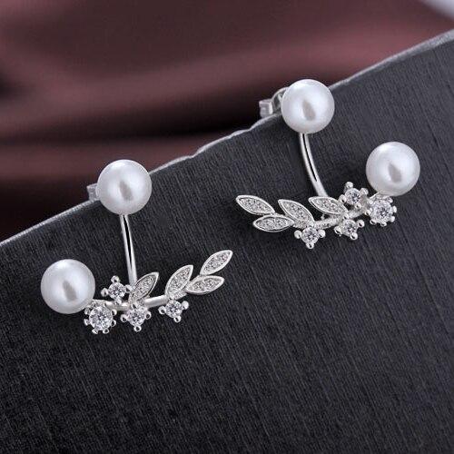 Gran oferta de joyería coreana, pendientes bonitos de cristal de circón nuevos para mujer, joyería de moda, regalos de Plata de Ley 925 perla Love
