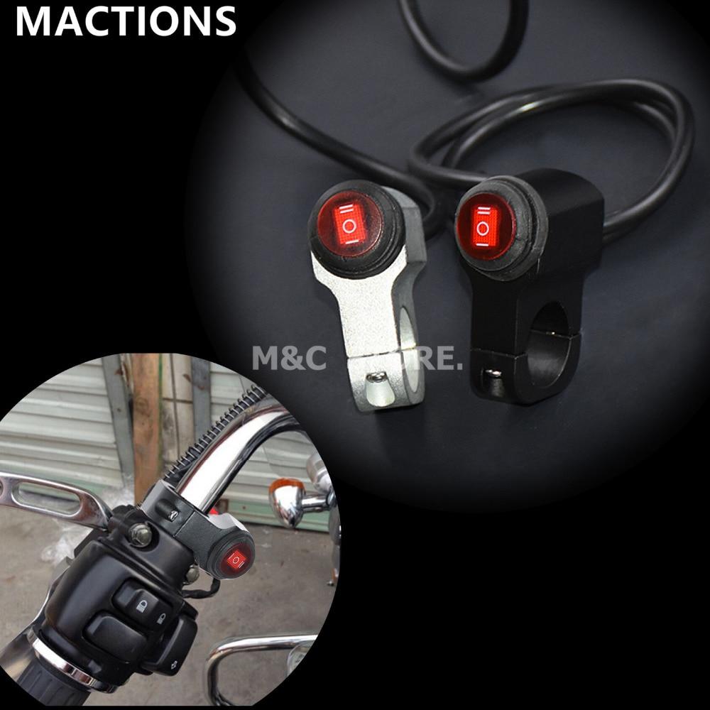 7/8'' 22mm Waterproof Motorcycle Handlebar Headlight Fog Light ON-OFF-ON Button Switch 12V 16A Black&Chrome