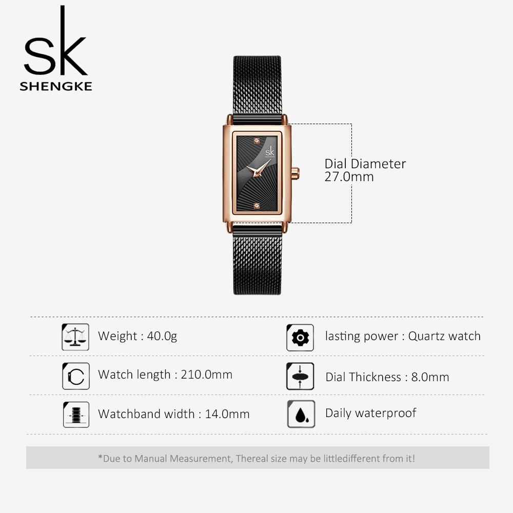 SHENGKE Fashion Rectangle Dial Quartz Watches Women's Luxury Brand Wristwatches Lady Black Stainless Steel Mesh Band Watch Clock enlarge
