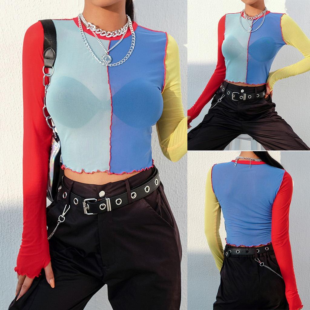Kaguster Sexy Patchwork malla top de hombro de manga larga verano streetwear grunge mujeres gótico tops mujer verano 2019 camiseta