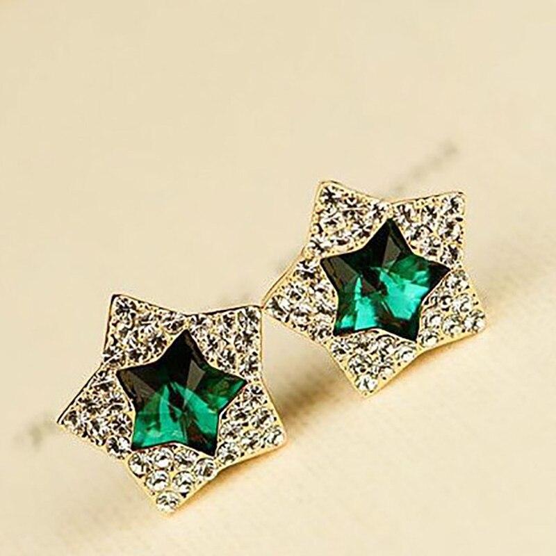 Voll Strass Double Star Stud Ohrringe Für Frauen Gold Kristall Zirkonia Ohrring Weibliche Mode-Schmuck Zubehör
