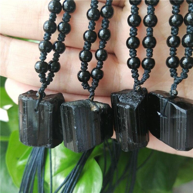 10 Uds turmalina negro Natural de la piedra de la gema de curación cuenta de Reiki colgante Nunatak materias primas Chakra energético Piedra Natural turmalina negra