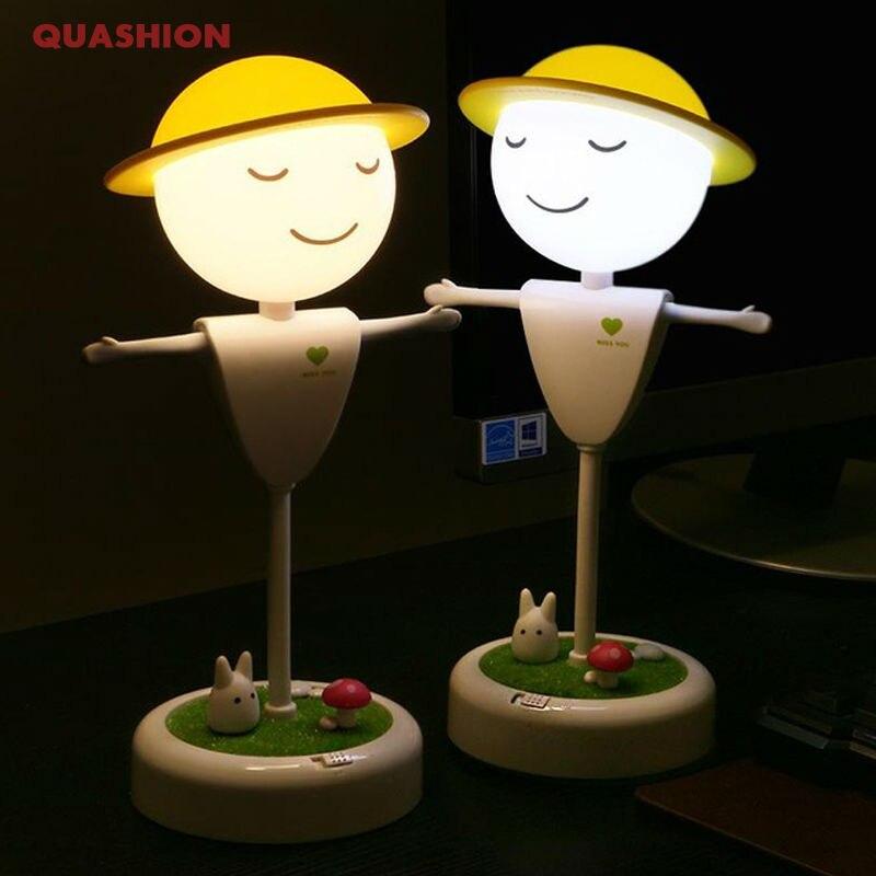 Suave iluminación contacto espantapájaros de dibujos animados lindo recargable luz de noche USB Sensor de vibración dormitorio LED luz buen regalo