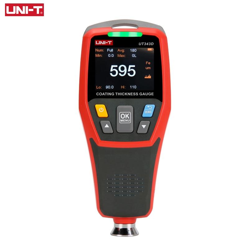 UNI-T UT343D مقياس سماكة طلاء السيارة ، مقياس سمك طلاء السيارة المعدني ، مع إضاءة خلفية LCD ، 320 × 240 بكسل ، FE/NFE