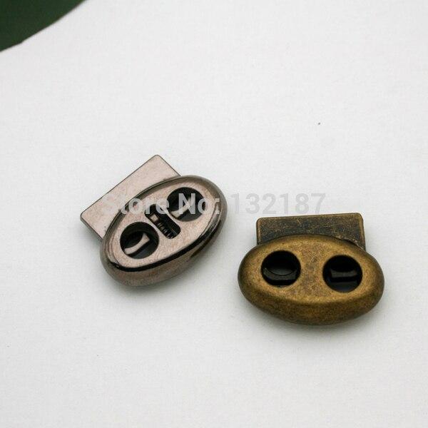 Оптовая продажа, 30 шт./лот, овальные Стопперы из металлического сплава, блокировка шнура с двумя отверстиями, STP-008