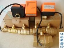 "Actuador eléctrico motorizado válvula de bola de latón AC220V DN15 (G1/2 "") a DN50 (G2"") válvula de cierre de control automático de 2 vías 3 cables"