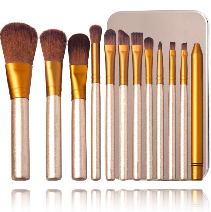 12 teile/satz NK3 Pinsel Kosmetik werkzeuge Rouge Pulver Pinsel Werkzeuge Flach Eyeliner Augenbraue Make-Up-Kit