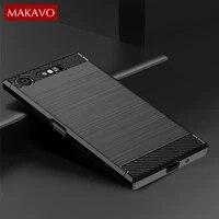 Per Sony Xperia Caso di XZ1 Compatto Semplice Spazzolato Del Silicone In Fibra di Carbonio Texture Caso Della Copertura Posteriore Per Sony Xperia 1 5 10 piu