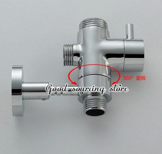 brass shower rod holder with water diverter