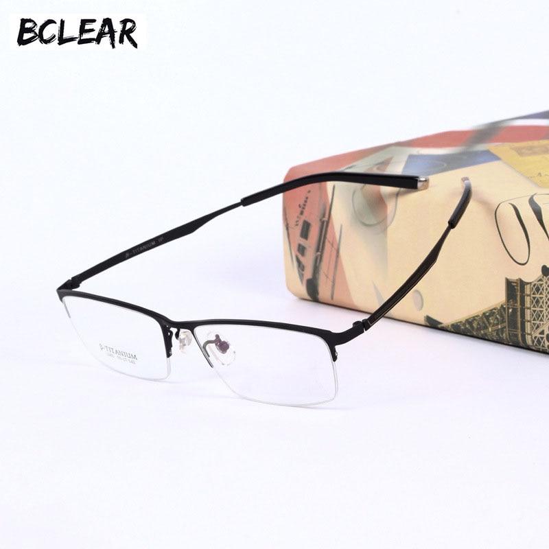 Модные титановые оправы для очков BCLEAR, ультралегкие мужские повседневные деловые очки с полуободком из чистого титана, 2018