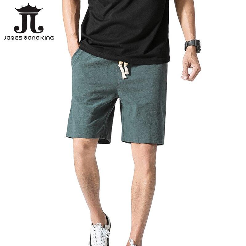New Summer Linen Men's Shorts Pure Kness Length Flax Cotton Plus XXXXL Man Short Pant Solid Beach Shorts Pockets Size M-5XL