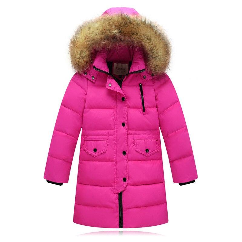 2021 موضة الأطفال بطة أسفل سترة الفراء الطبيعي طوق طويل سميكة الشتاء سترة الفتيات معطف الطفل أبلى الدافئة لفصل الشتاء البارد