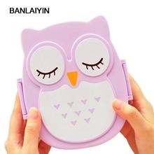 WholeTide10pcs*AUAU Fun Life Bento Box Cartoon Cute Owl Bento Lunch Meal Box Tableware Purple
